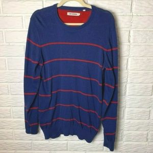 Ben Sherman Sweater Size Large Blue Red Stripes